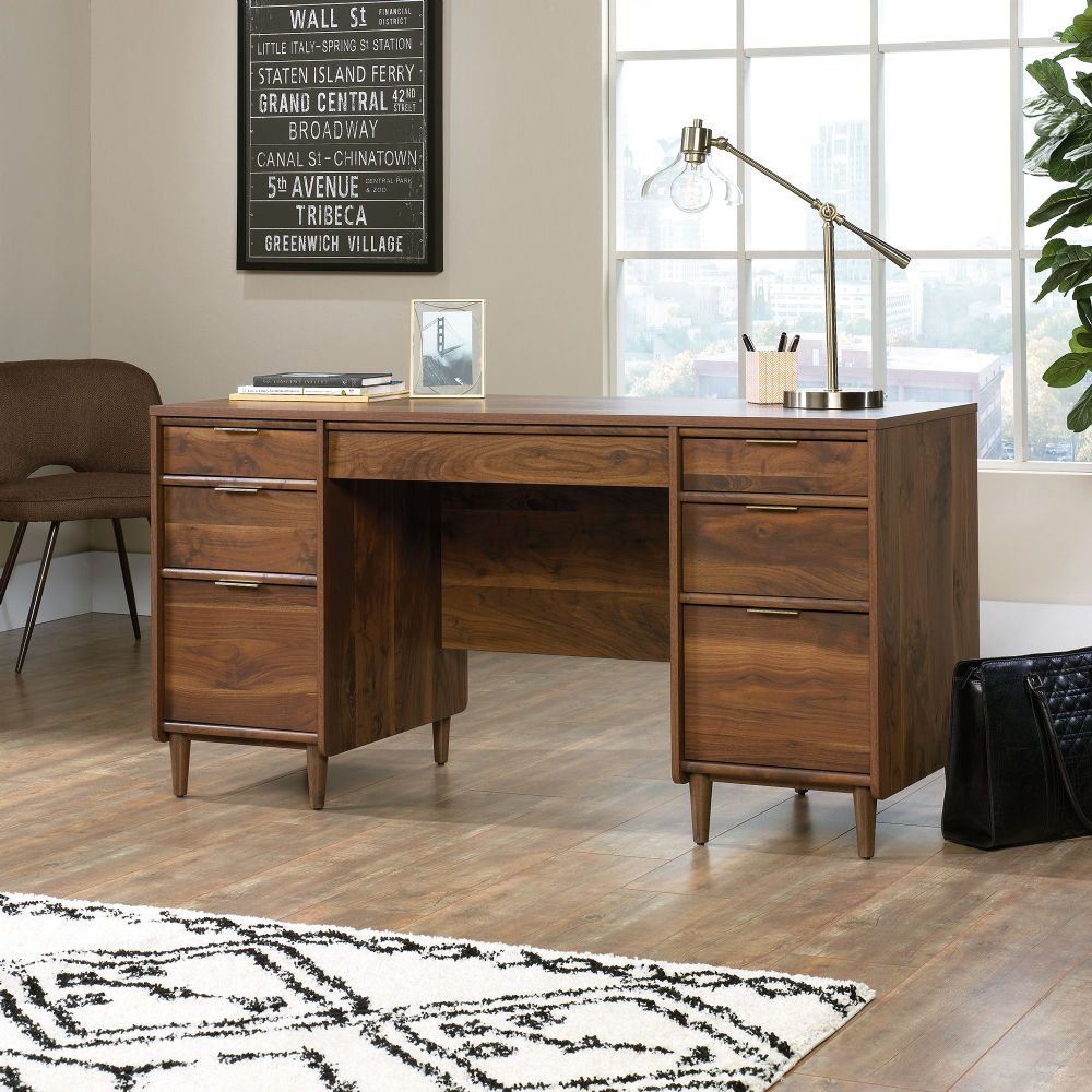 TEKNIK CLIFTON PLACE Executive Desk With Grand Walnut Finish Effect